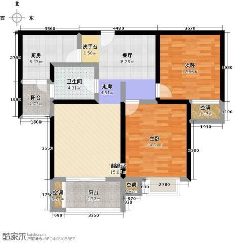 万里晶品苑2室0厅1卫1厨114.00㎡户型图