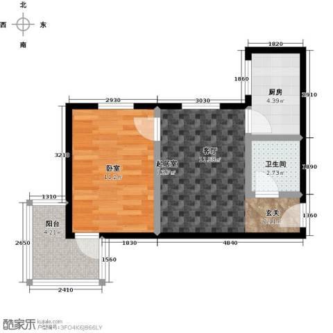 福安公寓AB栋1卫1厨50.00㎡户型图