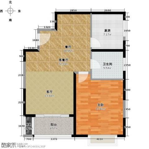 万里双子座1室1厅1卫1厨74.00㎡户型图