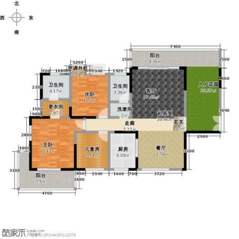 振兴香樟雅苑3室0厅2卫1厨144.00㎡户型图