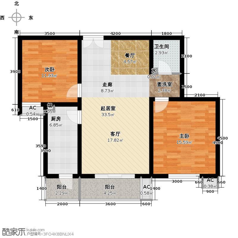 金隅・润景阁109.46㎡27号楼A户型二室二厅一厨一卫户型