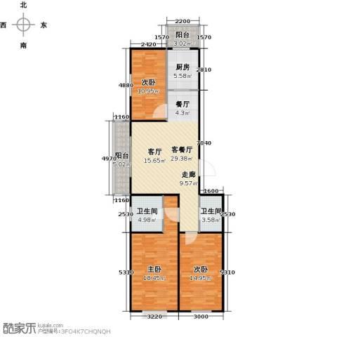 碧水云天颐园3室1厅2卫1厨129.00㎡户型图