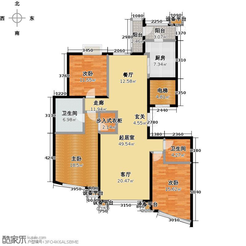 东湖湾170.34㎡三室两厅两卫户型3室2厅2卫