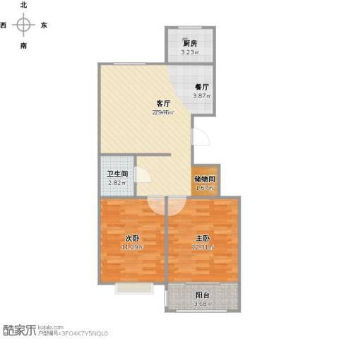 莱茵小镇2室1厅1卫1厨79.00㎡户型图