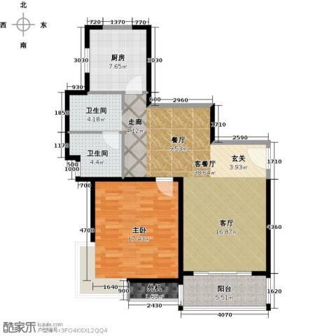万里双子座1室1厅1卫1厨82.00㎡户型图