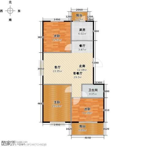 碧水云天颐园3室1厅1卫1厨116.00㎡户型图