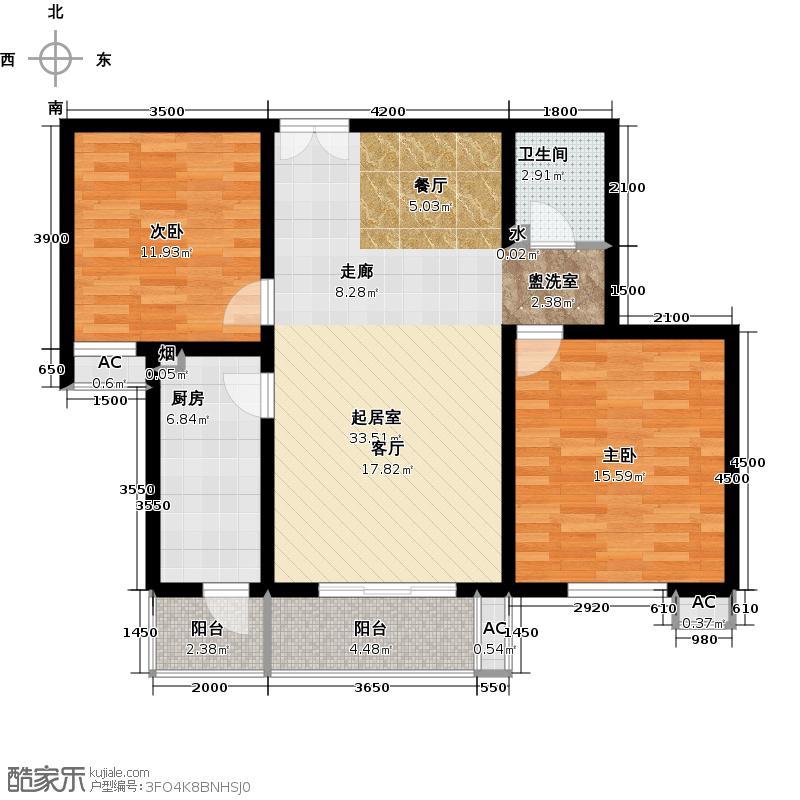 金隅・润景阁109.46㎡A户型二室二厅一厨一卫户型