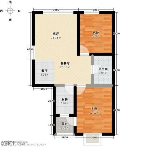 渤海玉园2室1厅1卫1厨87.00㎡户型图