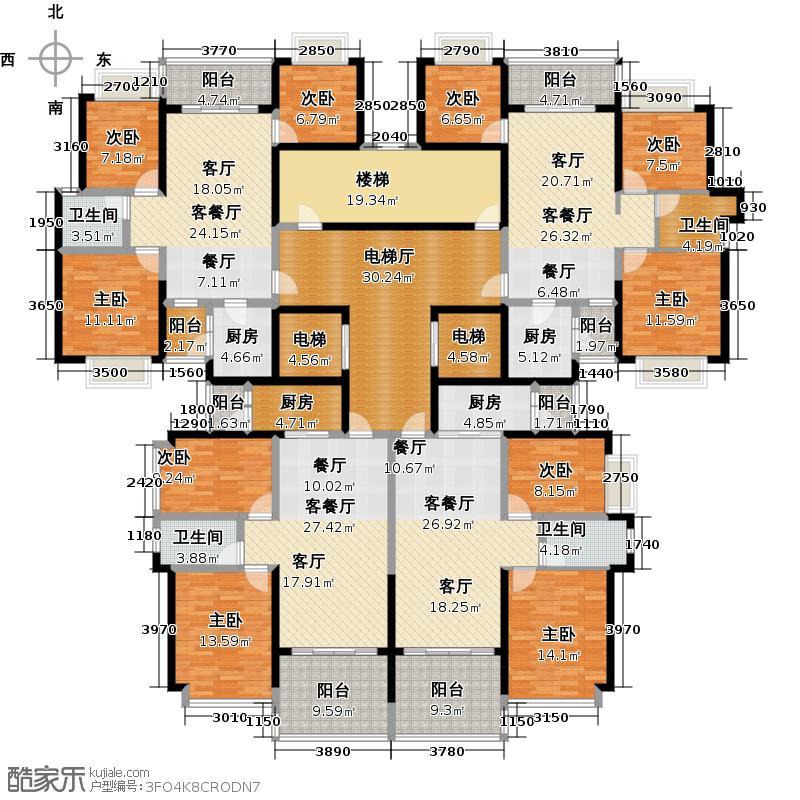 恒大雅苑户型9室3厅4卫4厨