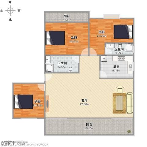 假日香港广场3室1厅2卫1厨172.00㎡户型图