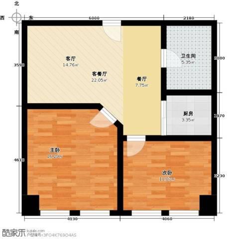 秀东尚座2室1厅1卫1厨67.00㎡户型图