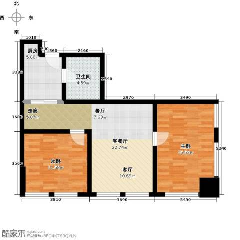 秀东尚座2室1厅1卫1厨70.00㎡户型图