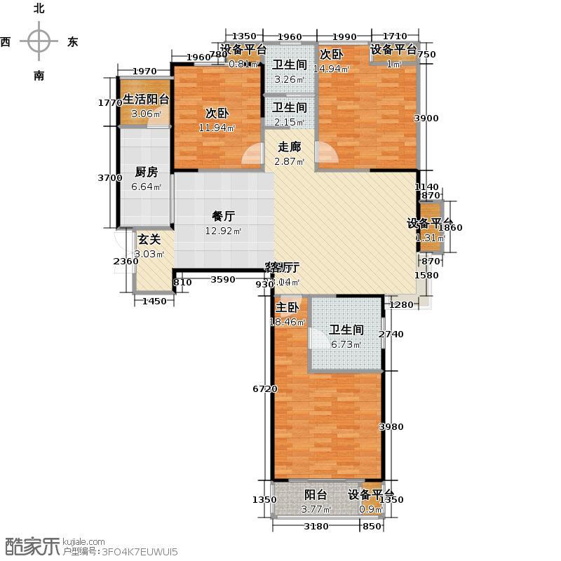 康桥金域上郡V期122.00㎡A1三室两厅两卫户型