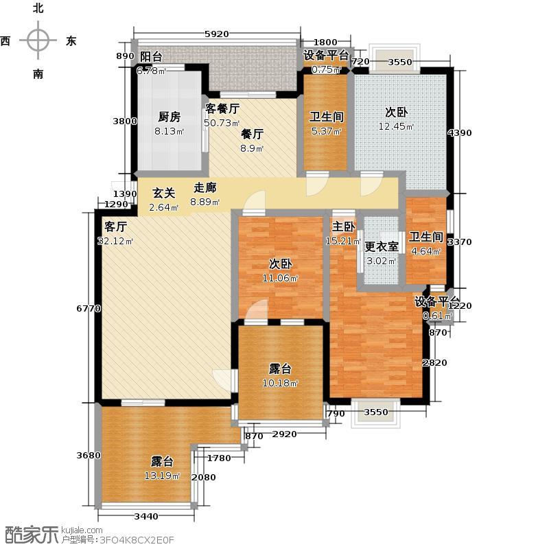 万泉城2区151.23㎡H3户型三房两厅两卫 151.23平方米户型3室2厅2卫