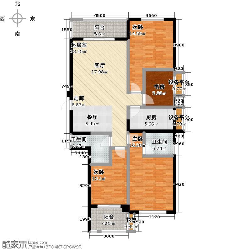 金辉淮安国际住区・泊宫125.00㎡20#01/04单元 四房两厅两卫户型4室2厅2卫