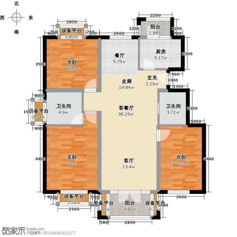 恒华・安纳湖118.50㎡北区1户型 三室两厅两卫户型3室2厅2卫