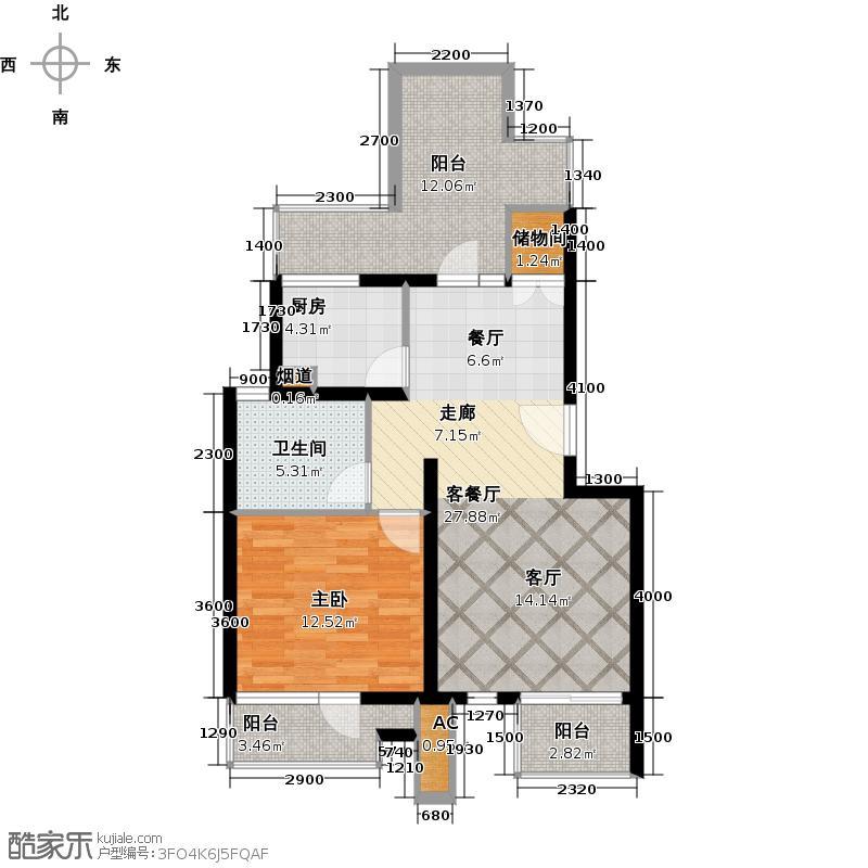 金地格林世界花园洋房5.5(2+2)-C1室2厅1卫 72㎡户型