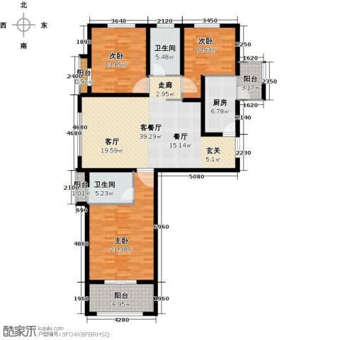 恒隆广场3室1厅2卫1厨163.00㎡户型图