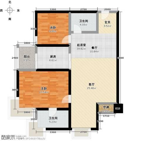 绿中海明苑2室0厅2卫1厨110.00㎡户型图