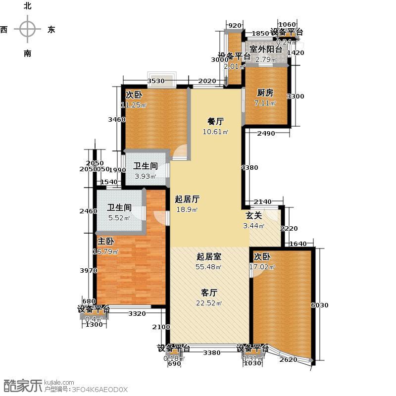 东湖湾165.00㎡501号楼3-1-C3三室二厅二卫户型3室2厅2卫