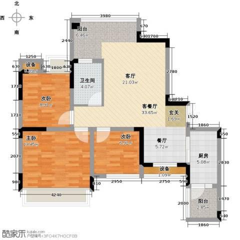 金辉悦府3室1厅1卫1厨89.00㎡户型图