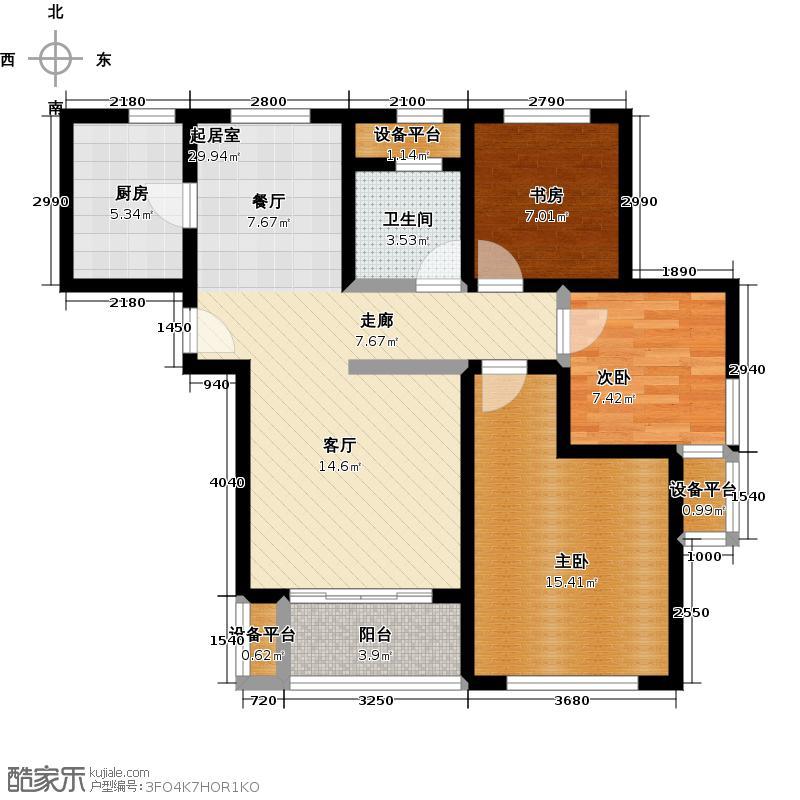 宝华北岸郡庭G户型,建筑面积约89.12㎡户型3室2厅1卫