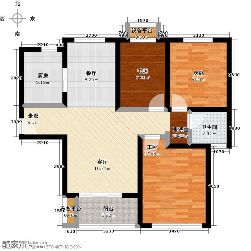 宝华北岸郡庭E户型,建筑面积约86.07-89.32㎡户型3室2厅1卫