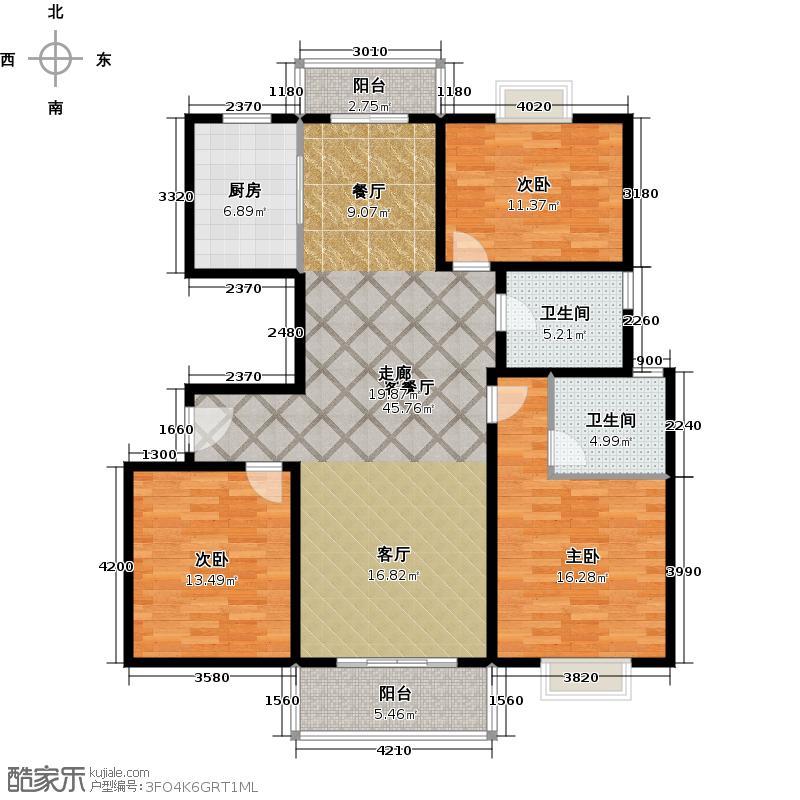 保利海上五月花三房二厅一卫,面积约125平方米户型