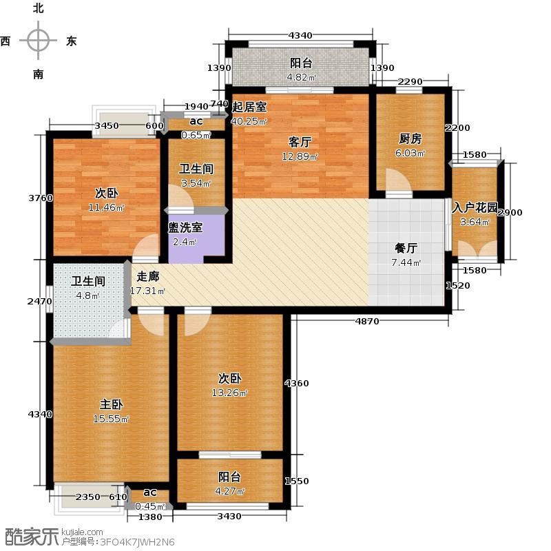 濮阳棕榈泉户型3室2卫1厨