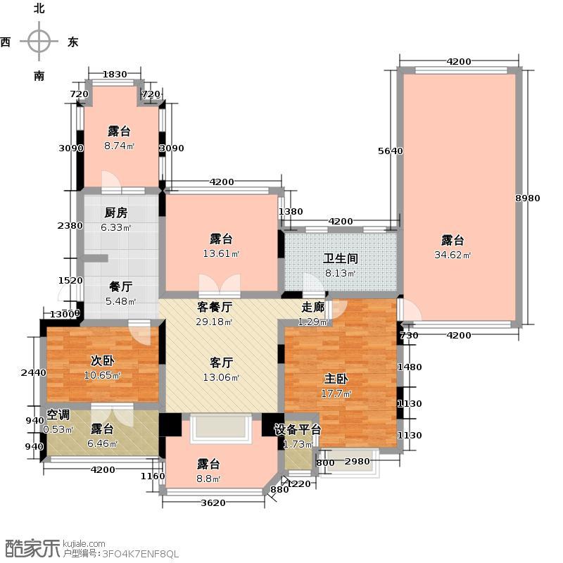 俊城橡树原J5二室一厅一卫户型