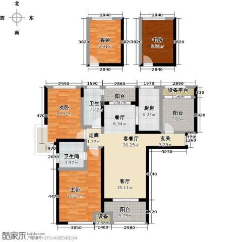 绿地外滩1号4室1厅2卫1厨129.00㎡户型图
