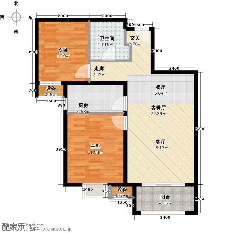 君和广场90.00㎡两室一厅一卫85-90平米户型2室1厅1卫