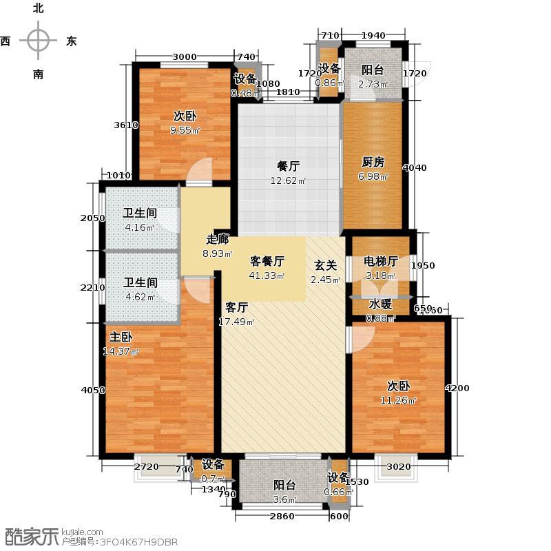 君和广场135.00㎡三室两厅两卫户型3室2厅2卫