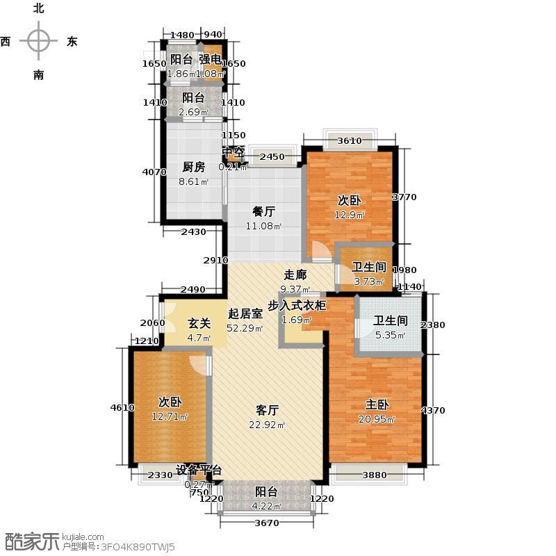 东湖湾B三室两厅两卫(已售完)户型