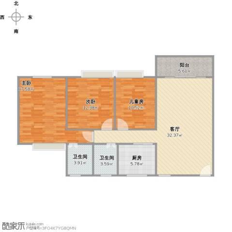 怡丰苑3室1厅2卫1厨124.00㎡户型图