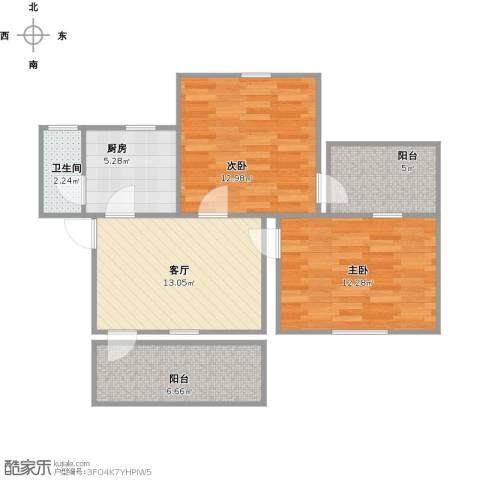 城市假日花园2室1厅1卫1厨78.00㎡户型图