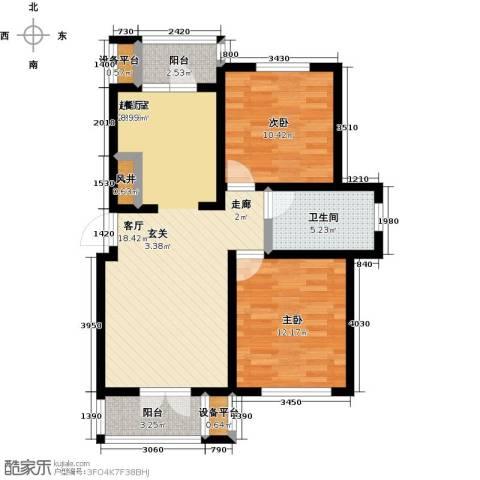 世纪梧桐公寓2室0厅1卫0厨85.00㎡户型图