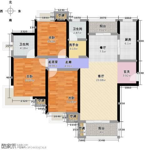 万里晶品苑3室0厅2卫1厨139.00㎡户型图