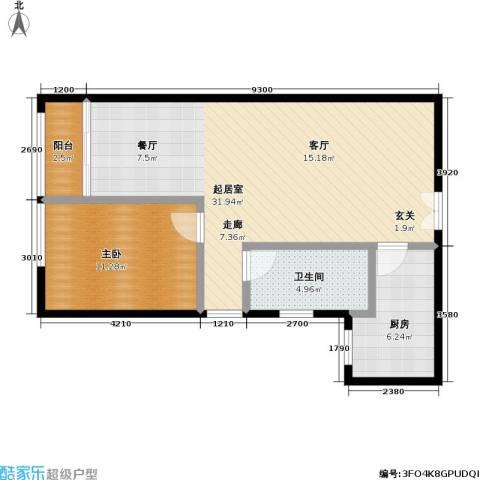 东杉国际1室0厅1卫1厨64.16㎡户型图