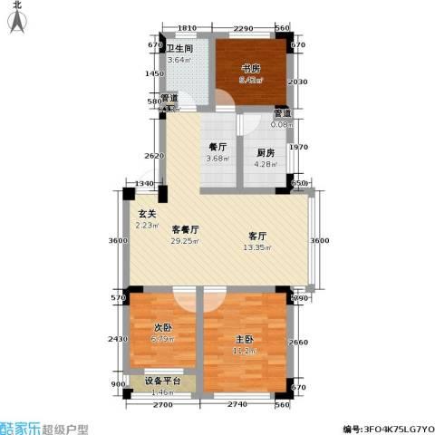 渤海玉园3室1厅1卫1厨88.00㎡户型图