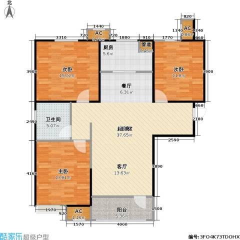 �阳新城3室0厅1卫1厨131.00㎡户型图