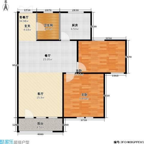 花园小区2室1厅1卫1厨106.00㎡户型图