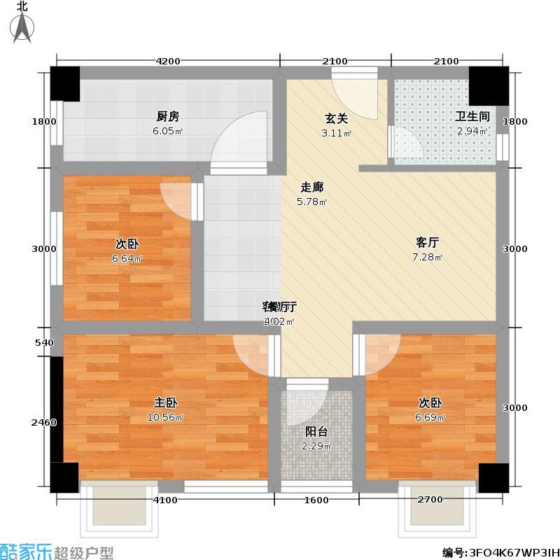 江川圣境84.60㎡精装公寓合拼户型3室2厅1卫
