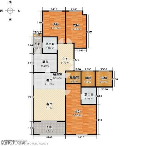 翠湖天地御苑3室0厅2卫1厨152.18㎡户型图