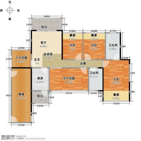凯南莱弗城3室0厅2卫1厨107.00㎡户型图