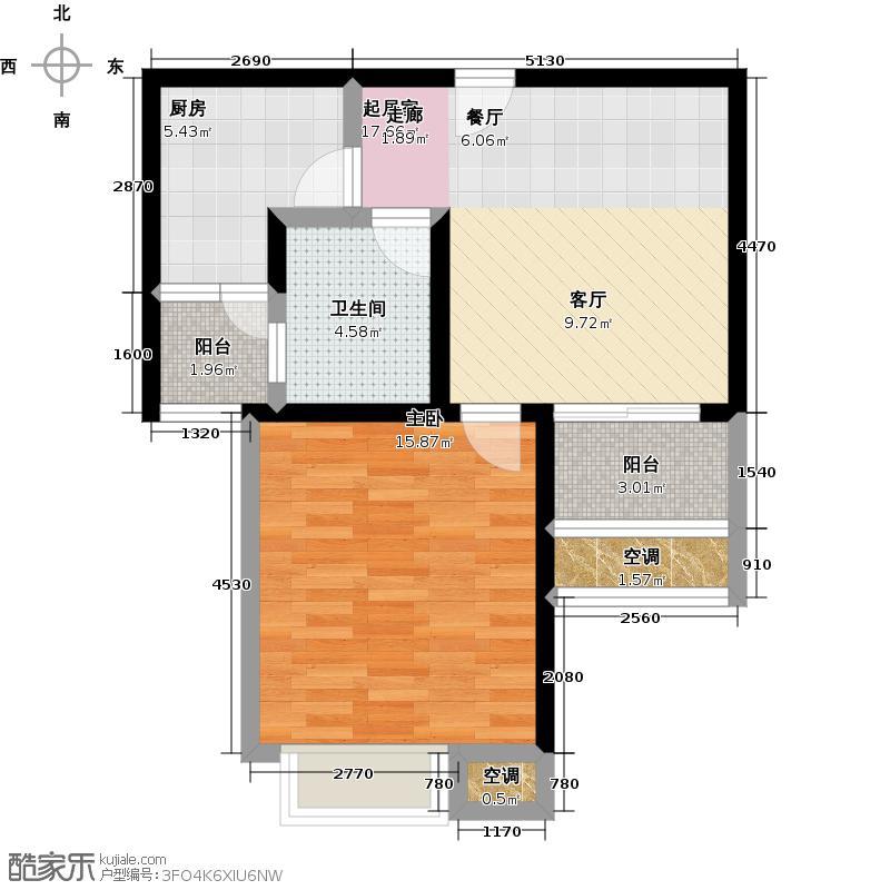 万里晶品苑60.00㎡一房二厅一卫-66平方米-144套-普陀房地(2009)预字0164号户型