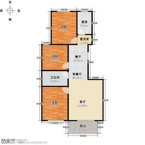 向阳雅园3室1厅1卫1厨93.00㎡户型图