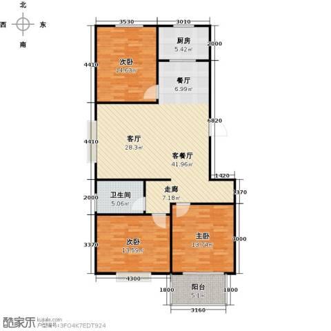 向阳雅园3室1厅1卫1厨100.00㎡户型图