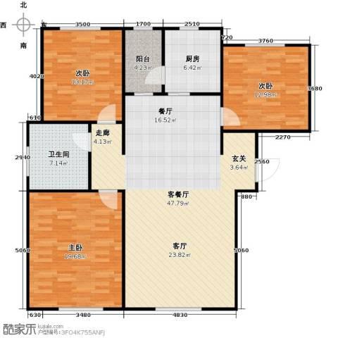 牡丹城3室1厅1卫1厨148.00㎡户型图