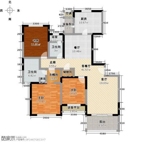 金湖湾花园3室1厅2卫1厨126.00㎡户型图